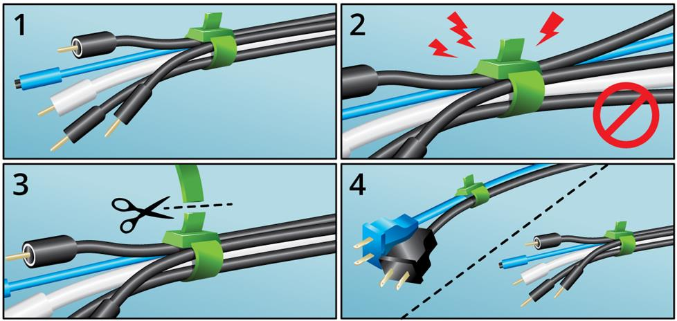 Illustrations of how to use cable ties.